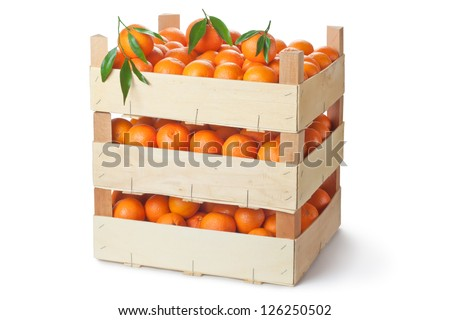 Three retail crates of ripe tangerines. Isolated on a white.