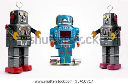 three retro robots
