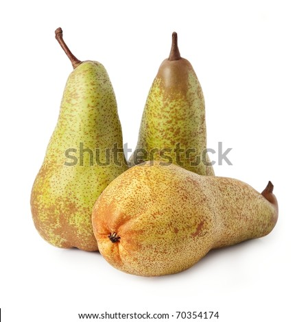 Three ripe pears (Conference) closeup on white background.
