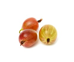 three ripe red and green gooseberries isolated on white background