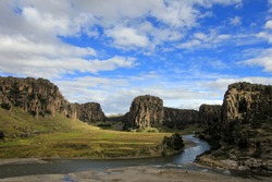 Three rivers and canyons crossing in the andean highlands of Peru. Creating the Apurimac river, the initial source of the great Amazonas.