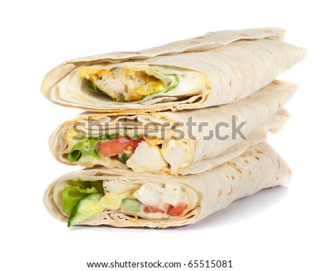 three rolled sandwich isolated on white