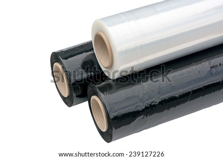 Three rolls of stretch film packaging black and transparent Wrapping film Isolated on white background