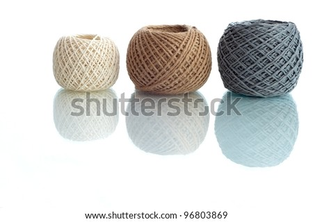 Three rope ball on a white background