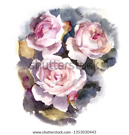 Three roses. Watercolor illustration. #1353030443