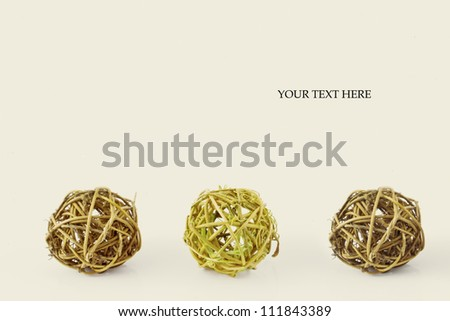 three round balls made of tree branches. friendship concept, teamwork