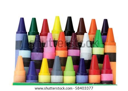 Three rows of wax crayons in a box with clipping path included. Shallow DOF.