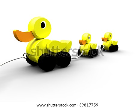 Three rubber ducks in a line