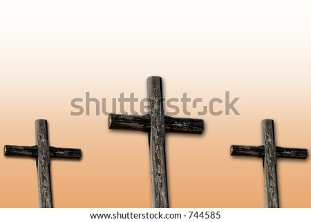 Three rugged crosses with sunrise colored gradient.