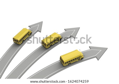 three school buses go in different directions isolated on white above view. 3d rendering