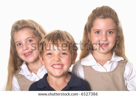 Three school children