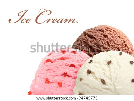 Three scoops of chocolate, strawberry and vanilla ice cream in bowl