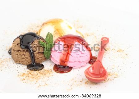 Three scoops of ice cream