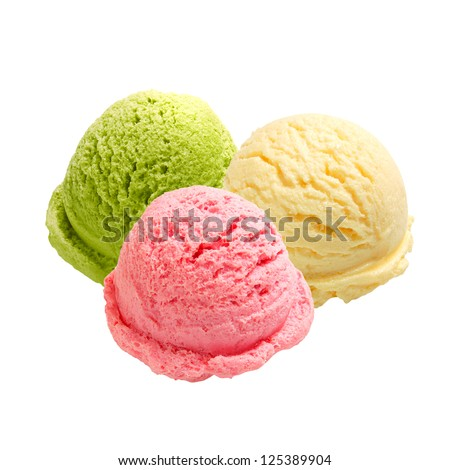 Three scoops of ice cream in different color on white background