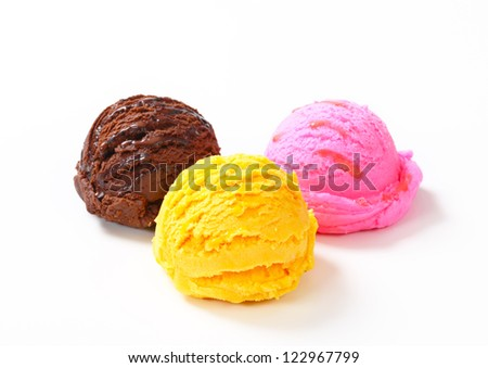 Three scoops of ice cream on white background