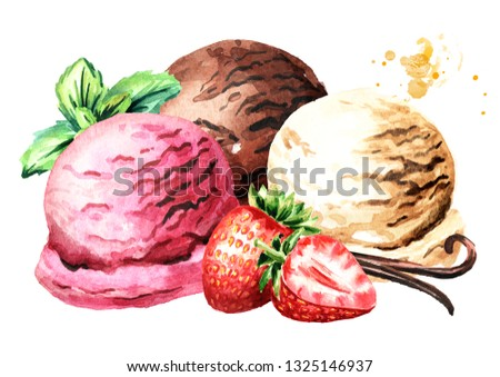 Three scoops of strawberry, vanilla and chocolate ice cream with berries and mint. Watercolor hand drawn illustration, isolated on white background