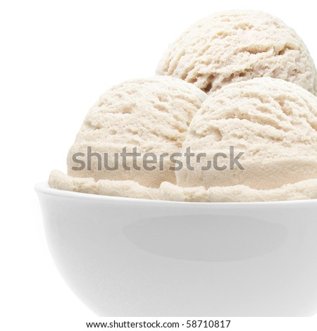Three scoops of vanilla ice cream in bowl on white background