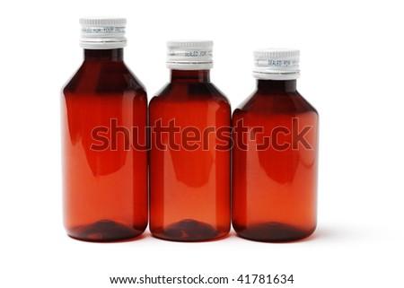 Three sealed medicine bottles on white background