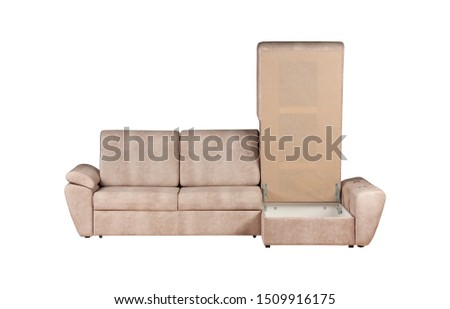 Three seats cozy beige fabric sofa isolated on white background