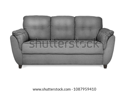Three seats cozy color. Beautiful front sofa isolated on white #1087959410