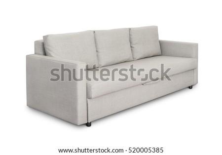 Three seats cozy grey sofa isolated on white #520005385