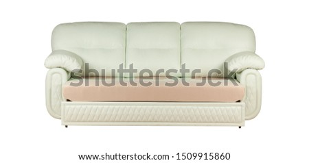 Three seats cozy light blue leather sofa isolated on white background