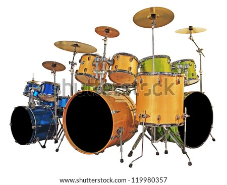 Three set drums isolated with clipping path