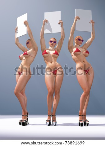 three sexy woman holding blank billboards