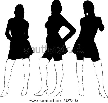 Three sexy young ladies in black silhouette with thigh high boots on