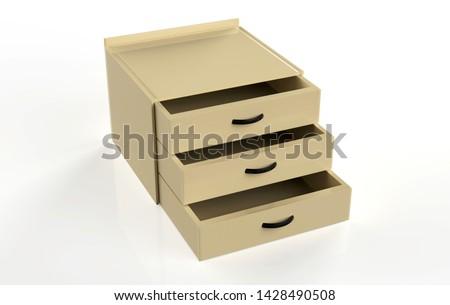 three shelf drawer isolated on white background. 3d Illustration #1428490508
