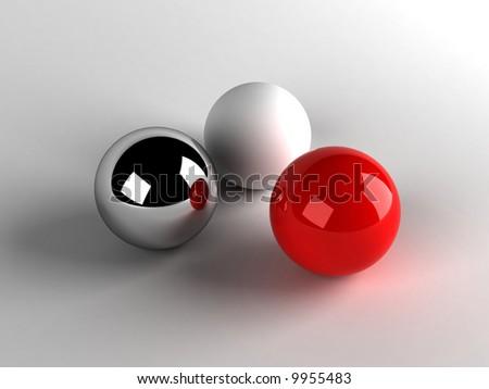Three shiny balls white red black - stock photo