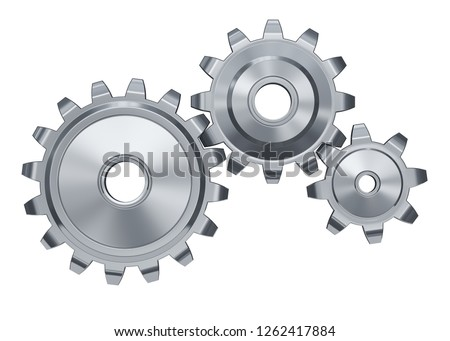 Three shiny gear wheels on a white background. 3d render illustration.