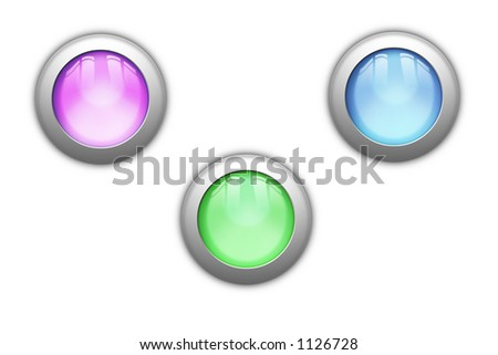 Three shiny orb buttons, with reflections