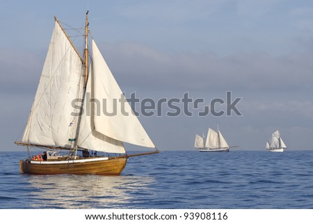 Three ships with white sails in the calm sea