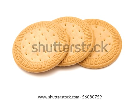 three shortbread cookies stacked isolated on white - stock photo