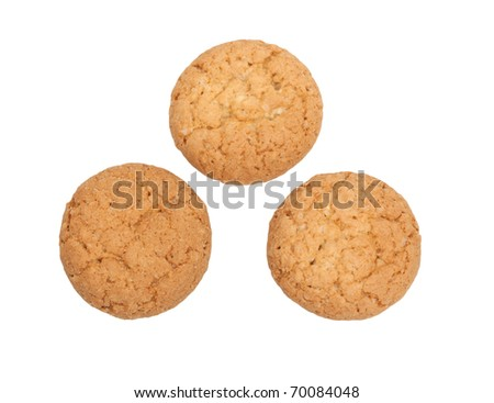 three shortbreads on white background