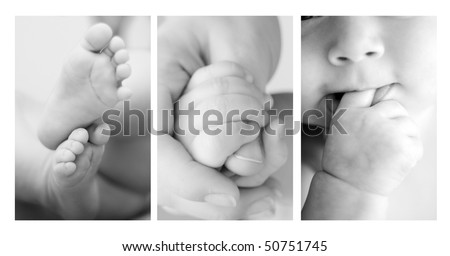 Three shots of cute details of a baby