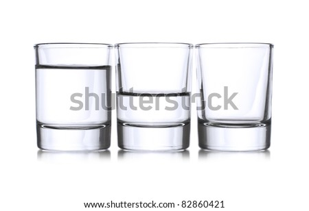 Three shots with liqueur,full,half,empty