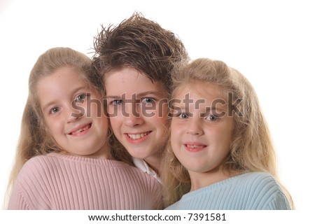 Three siblings on white