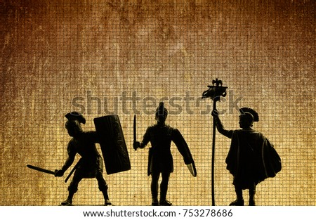 Three silhouettes of armed legionnaires - warriors of Roman Empire (Octavian Augustus's reign times), bi-color grunge style background, mosaic texture, ancient Roman civilization, illustration
