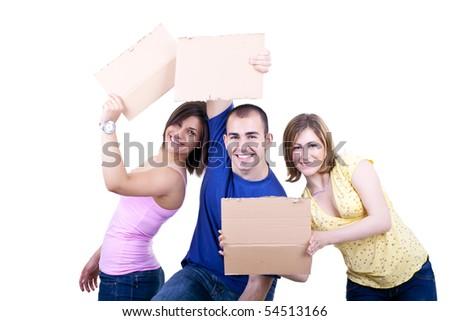 three silly  smiling students holding blank card boards