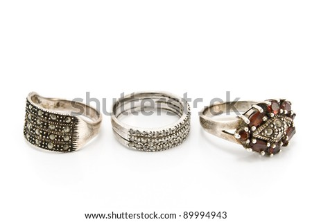Three silver rings isolated on white