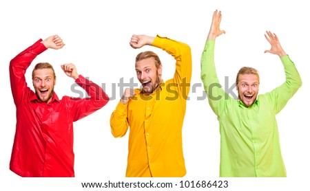 three similar men dance in colorful shirts. isolated on a white background