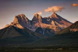 Three Sisters at Sunrise near Canmore, Alberta, Canada