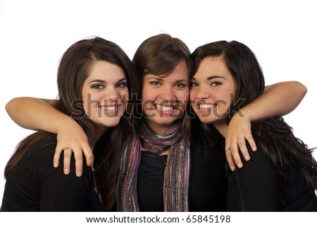 Three sisters having fun together and showing their great relationship with each other.