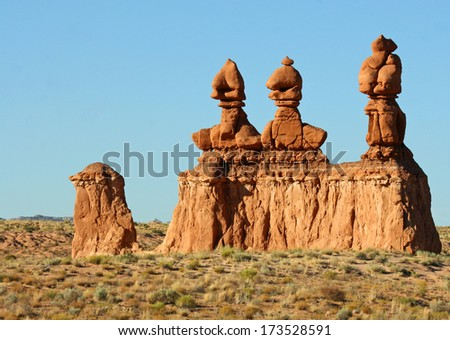 Three Sisters Hoodoos in Goblin Valley State Park, Utah