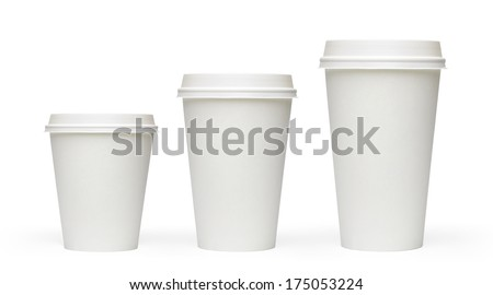 Three sizes blank take away filter coffee cups including clipping path