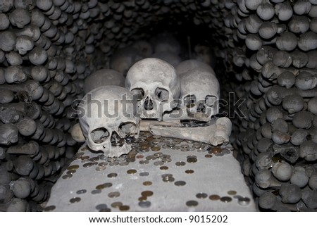 Three skulls at the Sedlice All Saints bone church in Kutna Hora. The skulls are surrounded by arm and leg bones with a scattering of donated coins in the foreground. A scary image for Halloween.