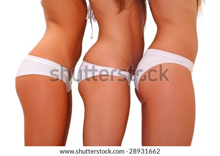 Three slim suntanned young women in a profile, in white underwear, isolated on a white background, please see some of my other parts of a body images: