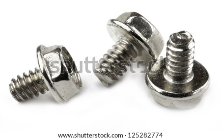 three small bolt isolated on white background